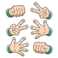hand rock paper and scissor cute clip art set vector