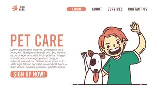 Cuidados veterinários web page veterinária ui design