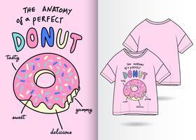 Design t-shirt disegnata a mano di ciambella anatomia