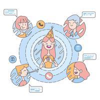 Ilustración de amistad de saludo de cumpleaños de comunicación en línea