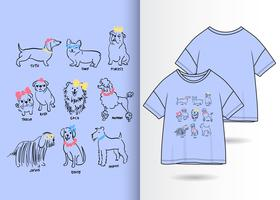 Hand drawn cute dog with t shirt design