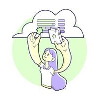 Girl data transfer on online cloud storage illustration
