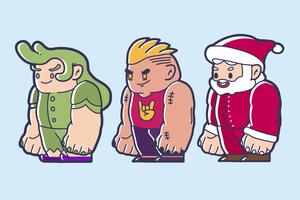 Chibi character design of a fairy, brave man and santa claus