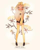 Hand drawn cute girl wearing yellow stockings with flower background