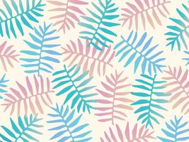 Pastel colored fern leaves seamless pattern background