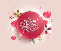Happy valentines day calligraphy on Sweet background. greeting card. vector illustration.