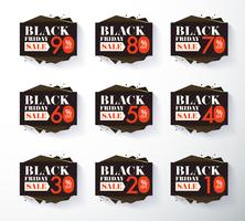 Black Friday promotion label and tag discount vector