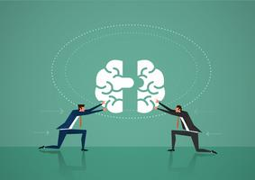 Two business man push brain puzzle pieces together vector