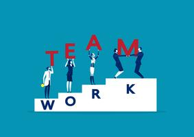 five businessmen holding teamwork word vector