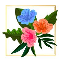 Vecteur floral coloré encadré