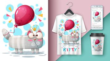 Cat and balloon - mockup for your idea