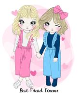 Hand drawn cute girl best friends holding hands with typography vector