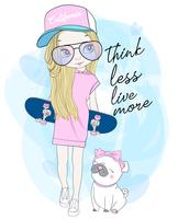 Hand drawn cute girl holding skateboard with pug