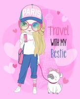 Hand drawn cute girl traveler with pug on leash
