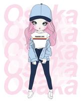 Hand drawn cute girl wearing hat with Osaka typography