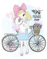 Hand drawn cute girl with bicycle and best friend dog