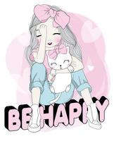 Hand drawn cute girl with cat sitting on BE HAPPY text