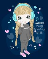 Hand drawn cute girl wearing headphones with typography