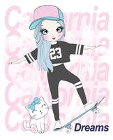 Hand drawn cute girl skateboarding with cat and California Dreams typography