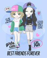 Hand drawn cute girl best friends with doodles and typography vector