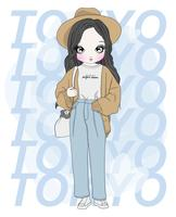 Hand drawn cute girl wearing baggy pants with Tokyo typography