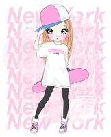 Hand drawn cute girl holding skateboard with New York typography