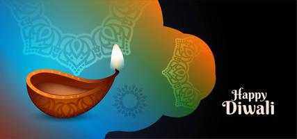 design coloré et brillant de Happy Diwali