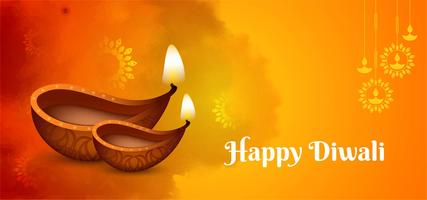 Festive greeting Happy Diwali orange design