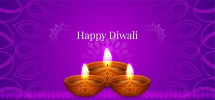 Happy Diwali decorative violet design