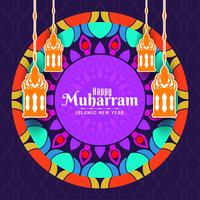 Happy Muharran colorful islamic greeting card