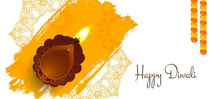 Happy Diwali design with lamp