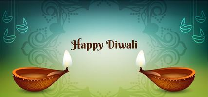 Happy Diwali festival blue and green design