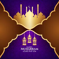 Happy Muharran violet design with golden mosque