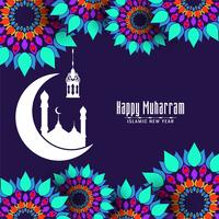 Happy Muharran decorative colorful islamic design