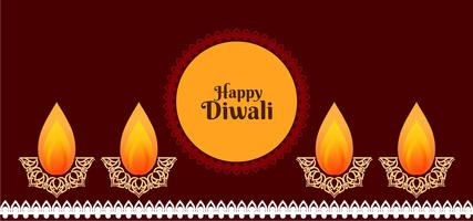 Happy Diwali Design mit dekorativen Diya