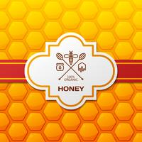 Honey label on honeycomb background