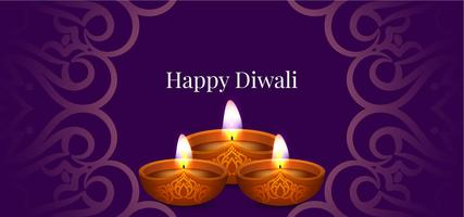 Happy Diwali decorative purple banner