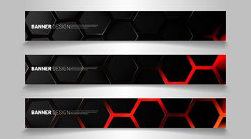 Set of backgrounds of hexagon banner