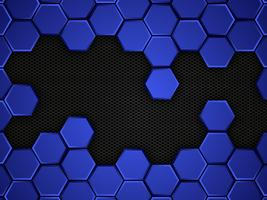 Blue and black glowing hexagon pattern