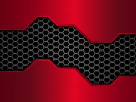 Black and red metal and honeycomb abstract pattern