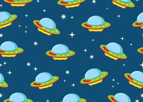 Seamless pattern of ufo with star in space galaxy background