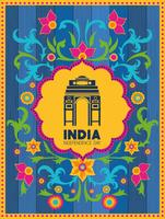 indian gate temple with floral background vector