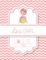 its a girl baby shower card  vector