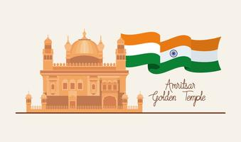 indian amritsar golden temple with flag vector
