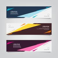 Set of Abstract Black and Colorful Shapes Banners