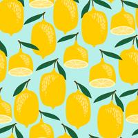 Lemons Pattern on Blue Background