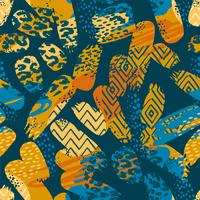 Tribal ethnic seamless pattern with animal print and brush strokes