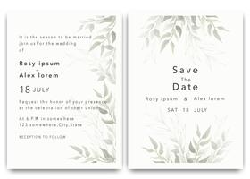 Wedding Invitations save the date card design with elegant garden anemone. vector