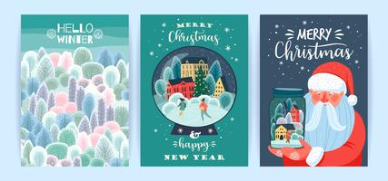 Set of Christmas and Happy New Year Card