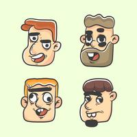 men quirky profile picture set vector
